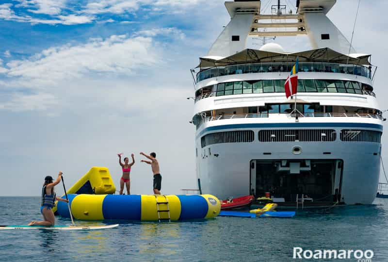 Windstar cruise through Italy - swimming off the boat